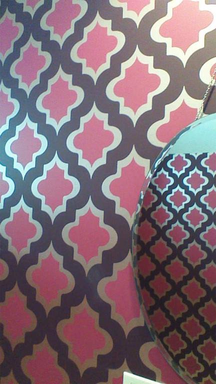 chicago modern home tour trellis wallpaper contemporary lattice pink 432x768