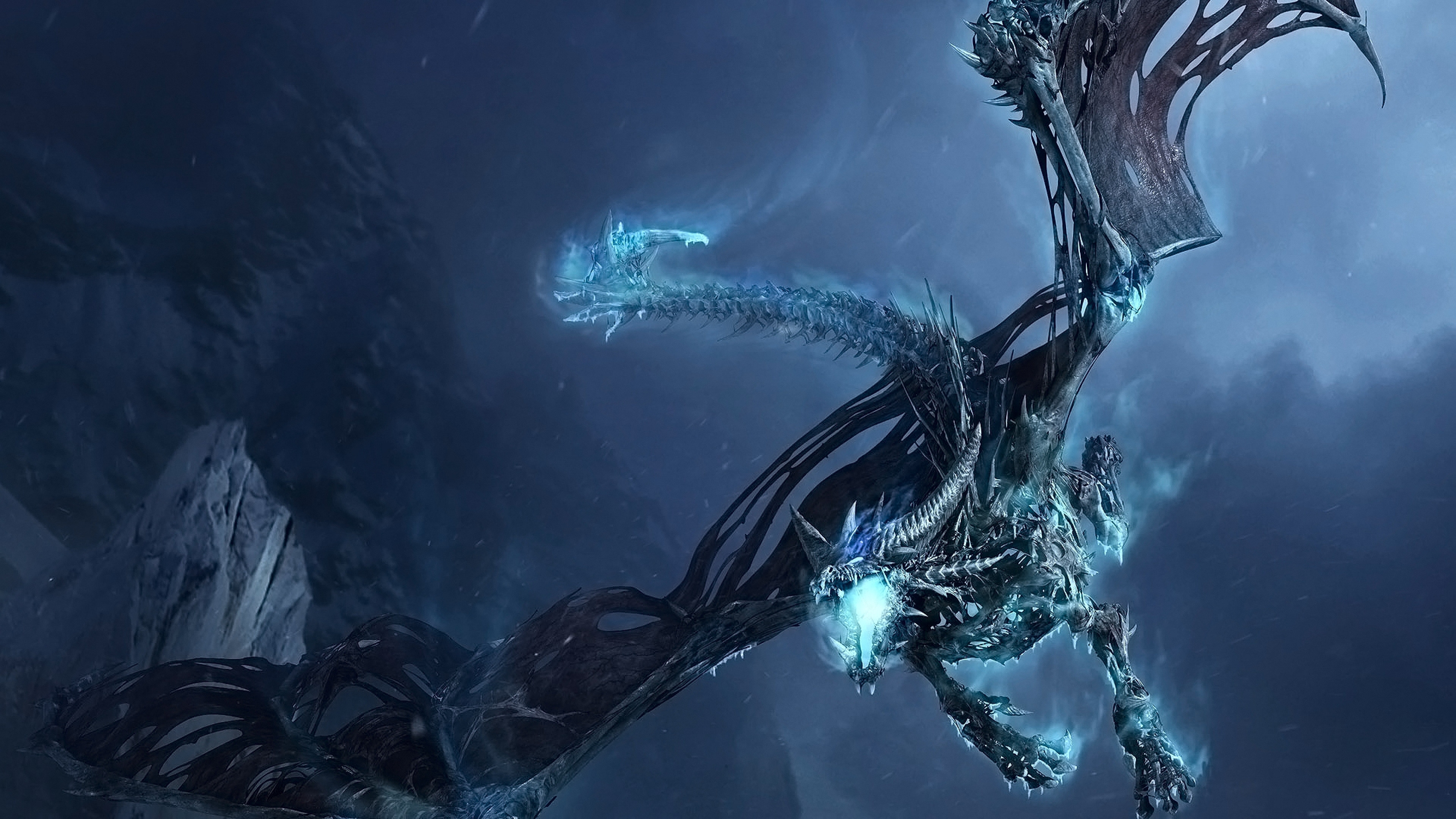 3840x2160 World of warcraft Dragon Cold Fly Tail Wings Wallpaper 3840x2160