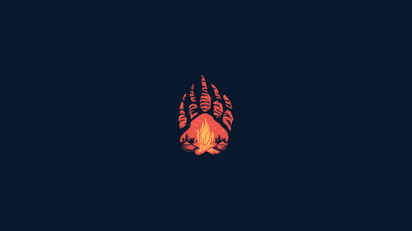 1366x768 wallpaper paws campfire minimal abstract 1366x768