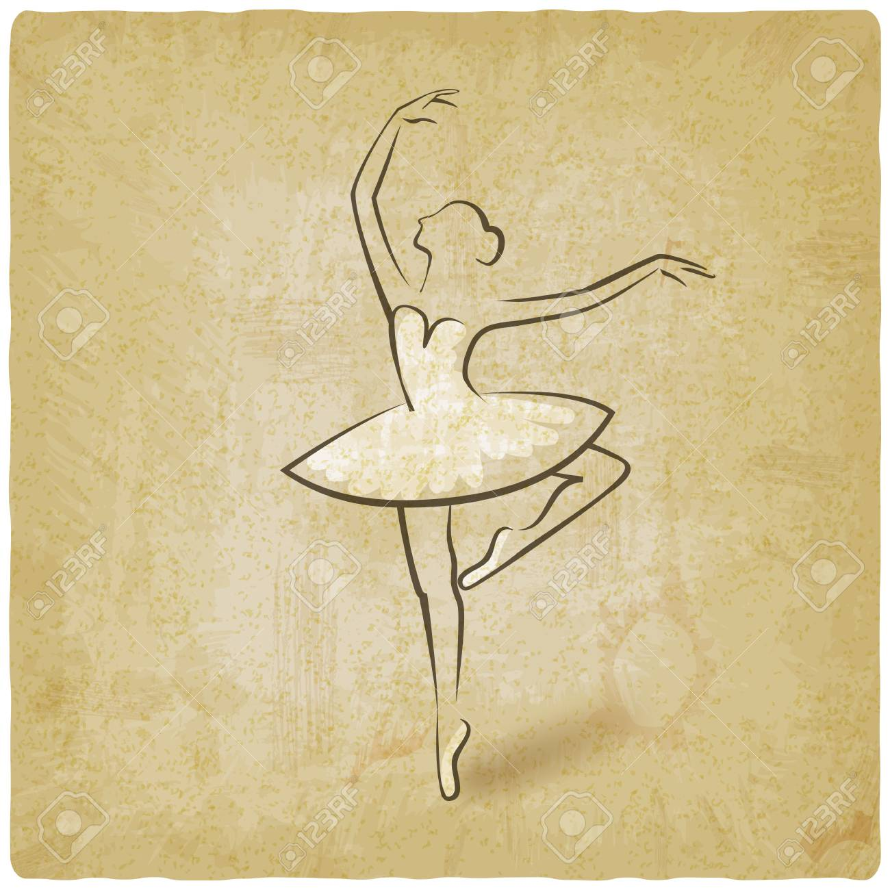 Sketch Ballet Posture Dancing Studio Symbol Vintage Background 1300x1300
