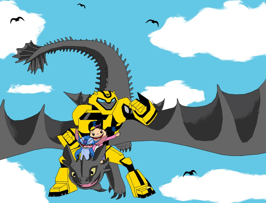 Bumblebee Haley and Stitch riding Toothless by SunsetMajka626 on 1024x780