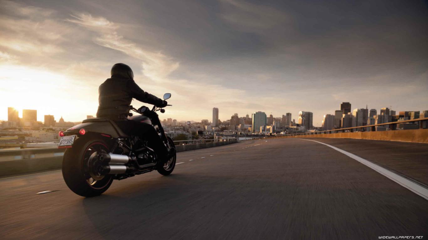Черный мотоцикл в поле  № 3425385  скачать