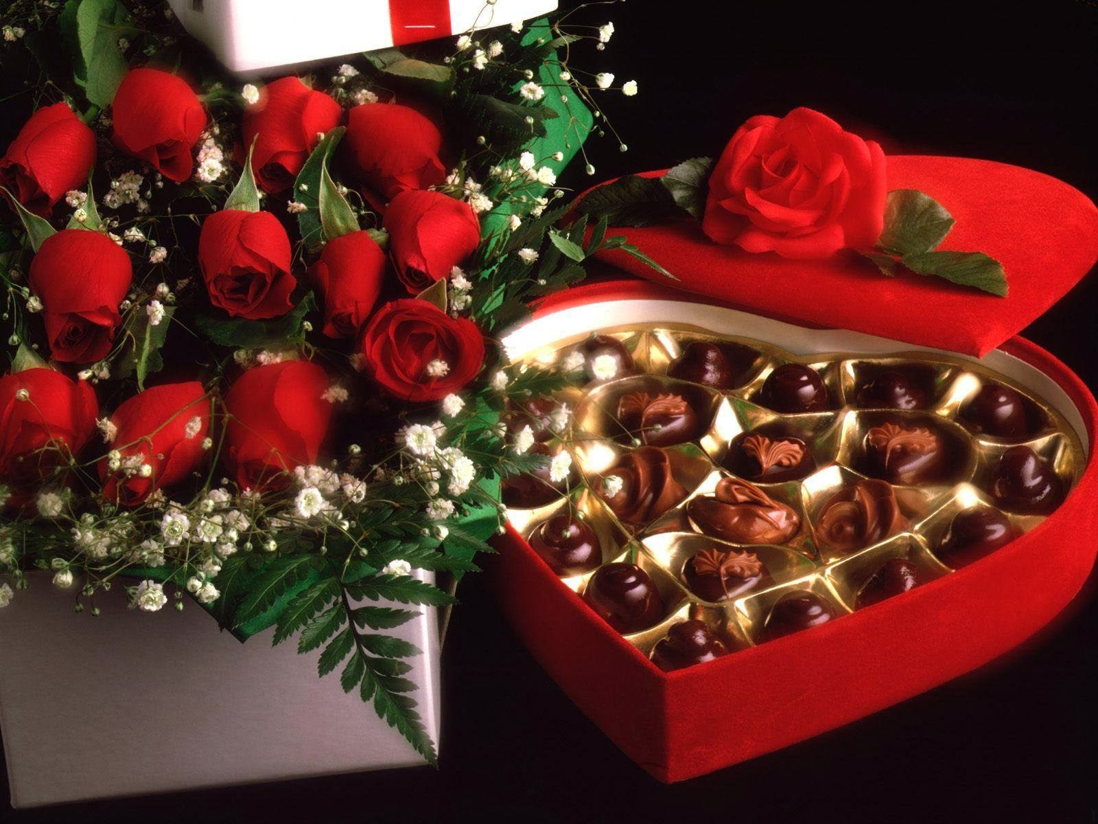 Chocolates and flowers computer wallpaper   beautiful desktop 1600x1200