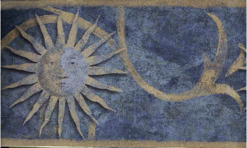 Home Dark Blue Sun Sign Wallpaper Border 1000x600