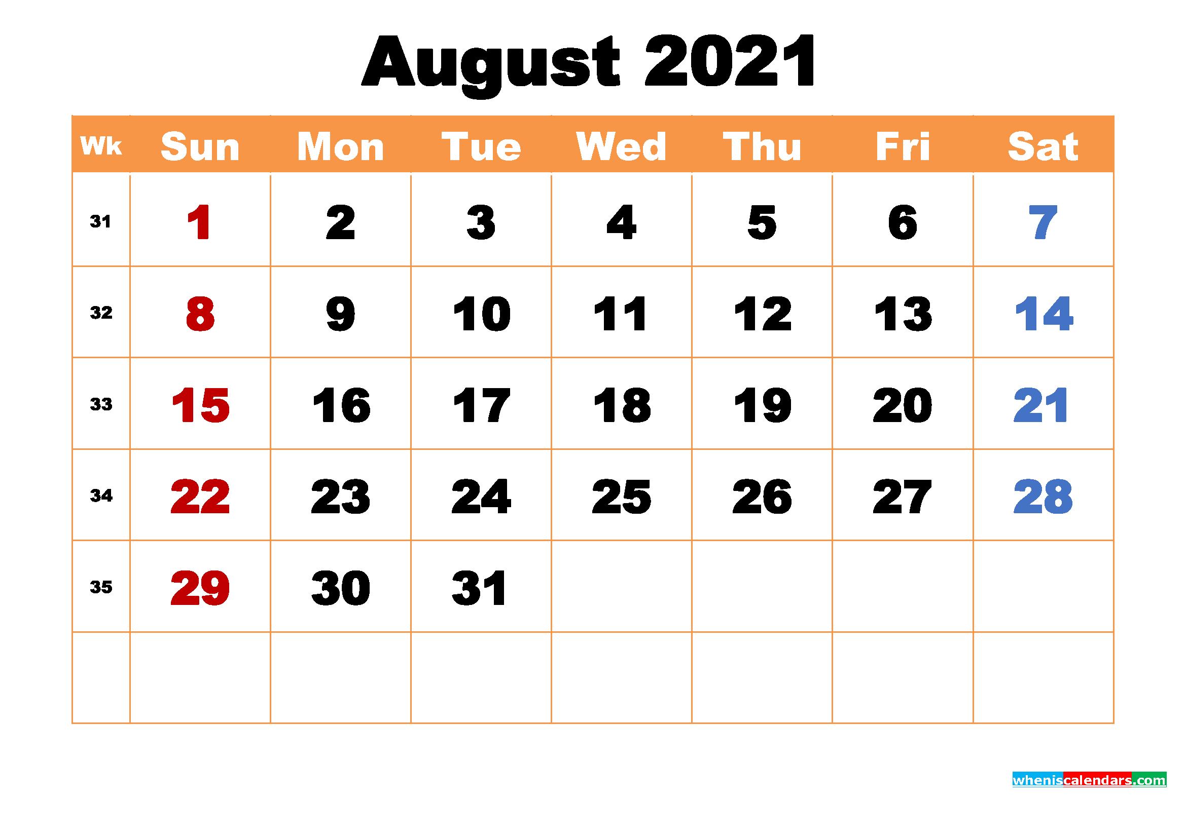August 2021 Calendar Wallpaper High Resolution 2339x1654