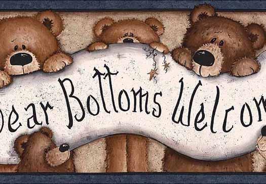 Bear Bottoms Welcome Wallpaper Border   Wallpaper Border Wallpaper 525x364
