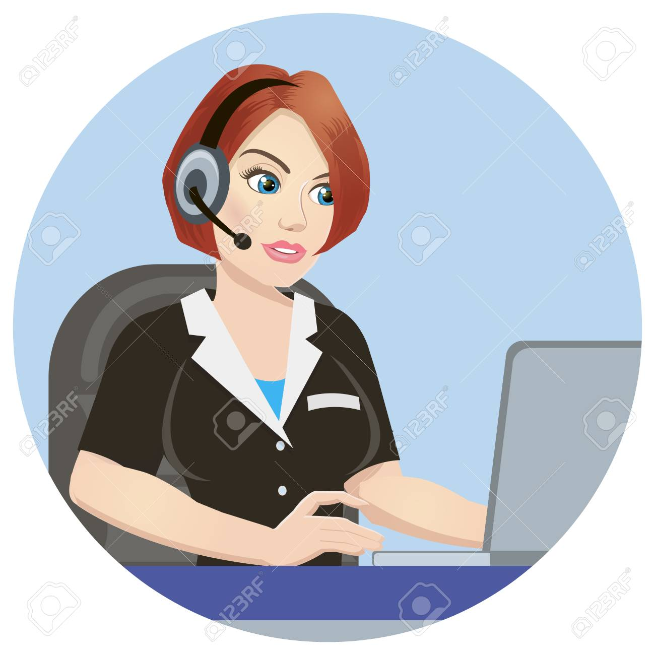 Call Center Operator At Work Isolated On White Background 1300x1300