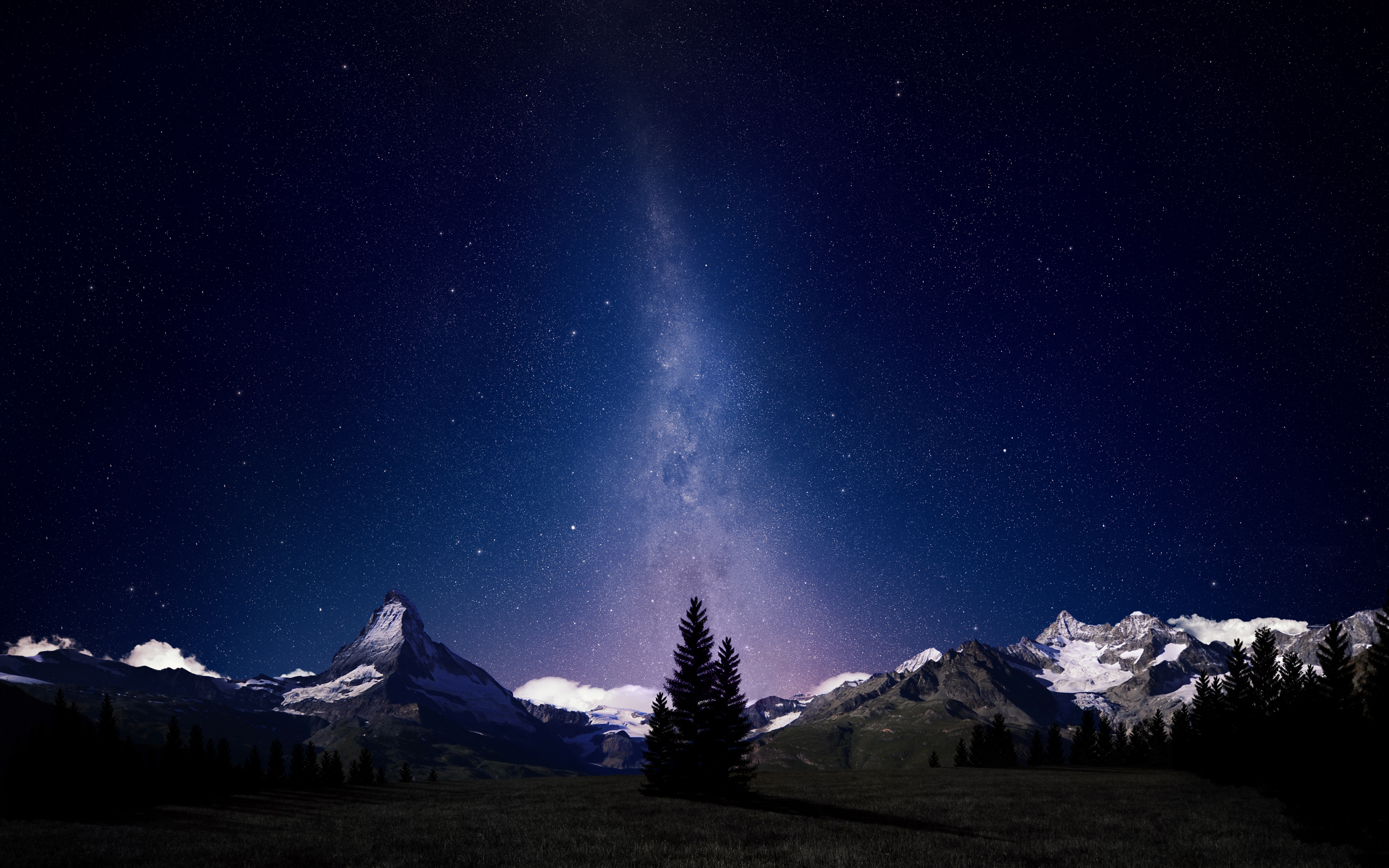 Swiss Alps Night Sky Wallpapers HD Wallpapers 2560x1600