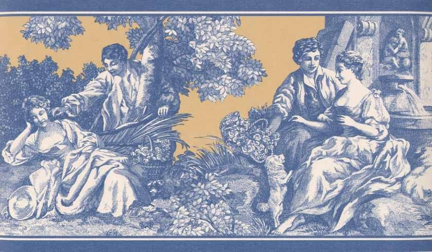 Blue Toile Wallpaper 6 Pictures 840x491