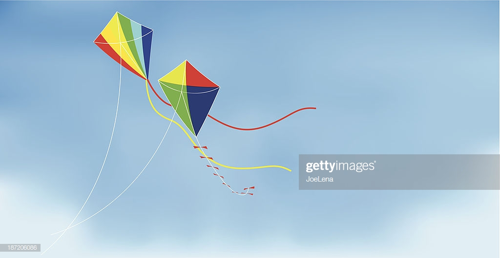 Two Kites On Sky Background stock illustration   Getty Images 1024x530