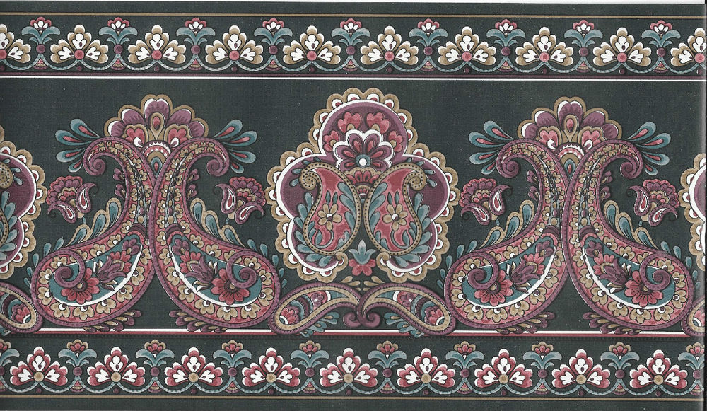 Free Download Victorian Burgundy And Green Paisley Wallpaper