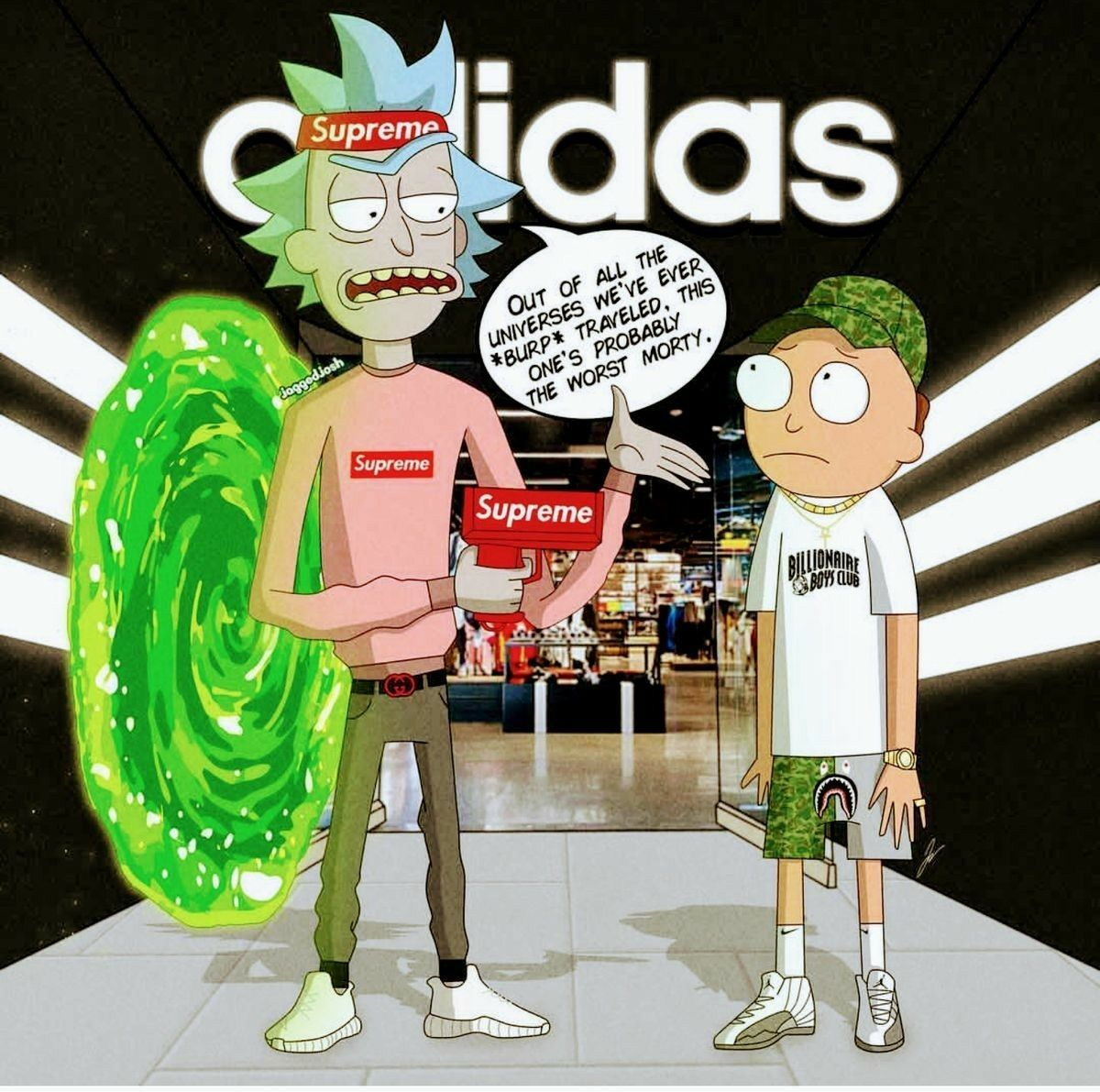 Rick and Morty x Supreme Rick Morty in 2019 Rick morty 1200x1191