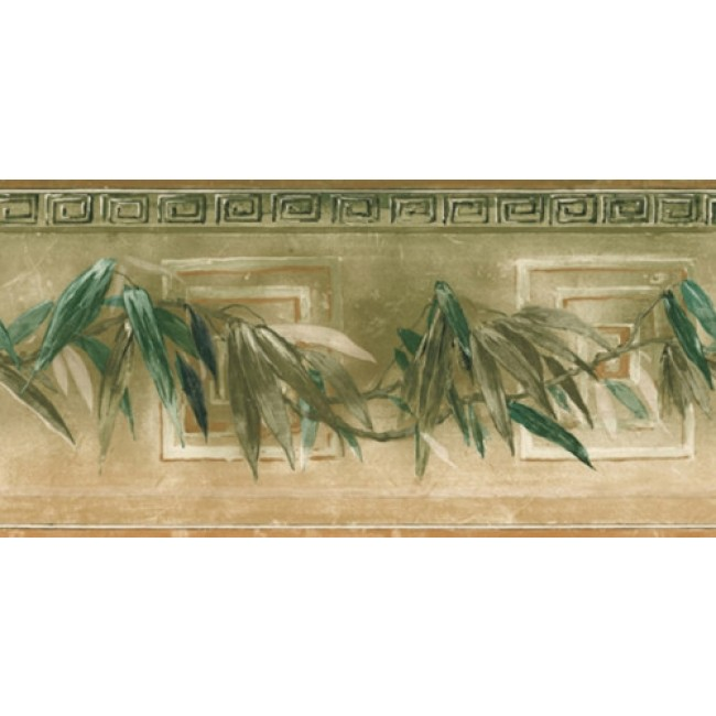 Tropical Leaves and Greek Key Wallpaper Border   All 4 Walls Wallpaper 650x650