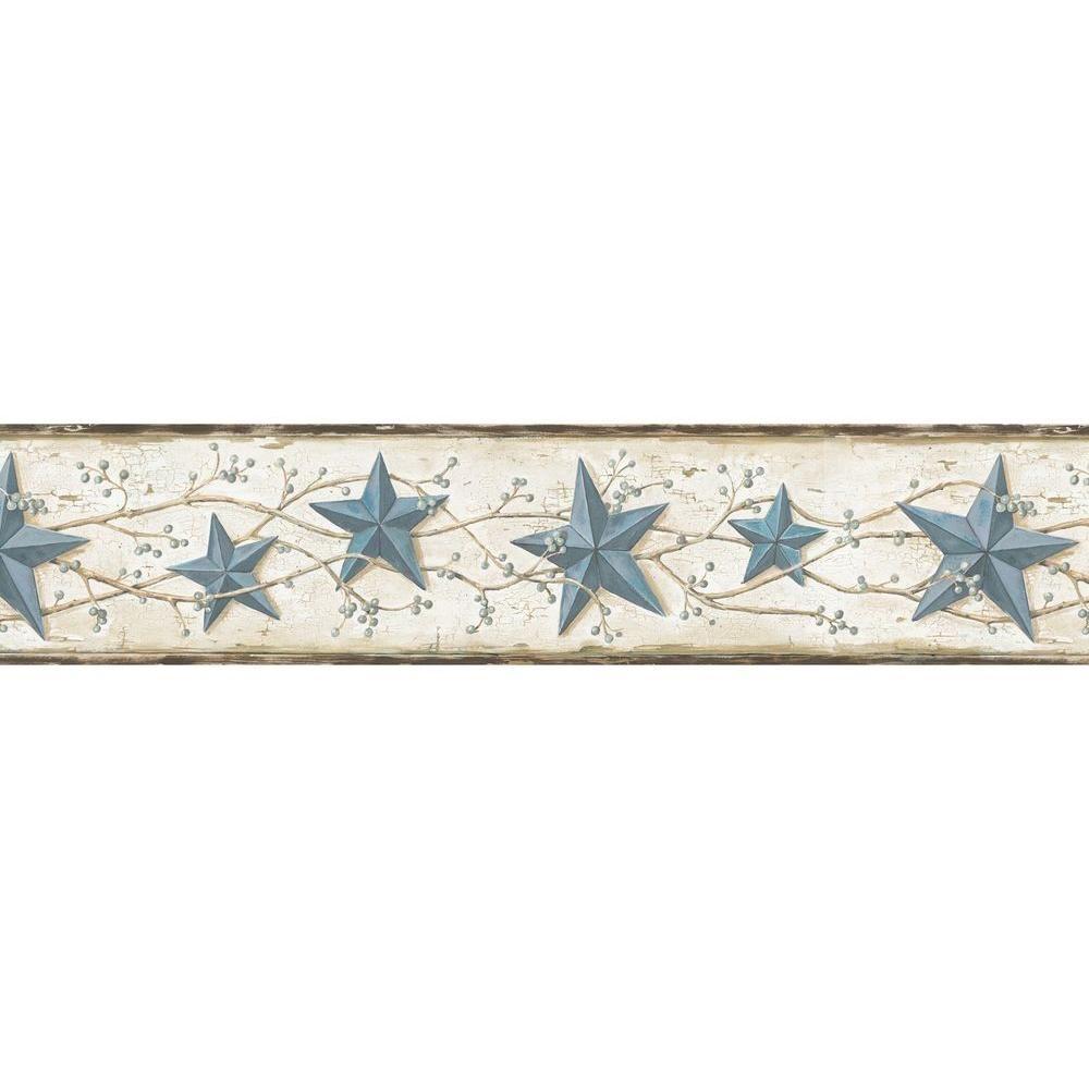Chesapeake June Blue Heritage Tin Star Wallpaper Border Sample 1000x1000