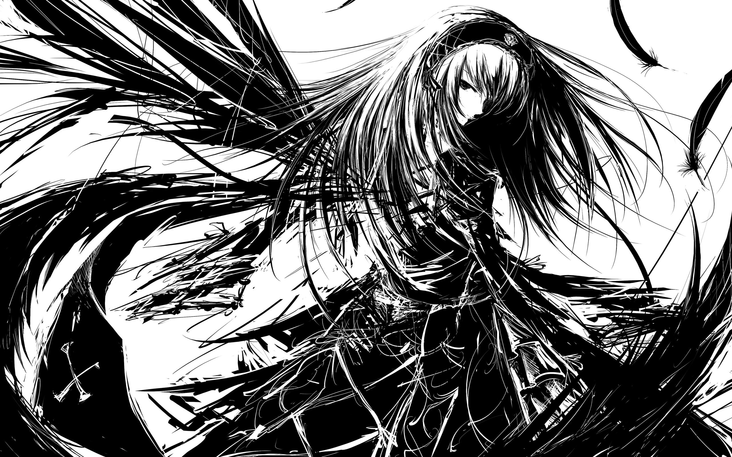Dark anime angels angel anime bw girl 2560x1600
