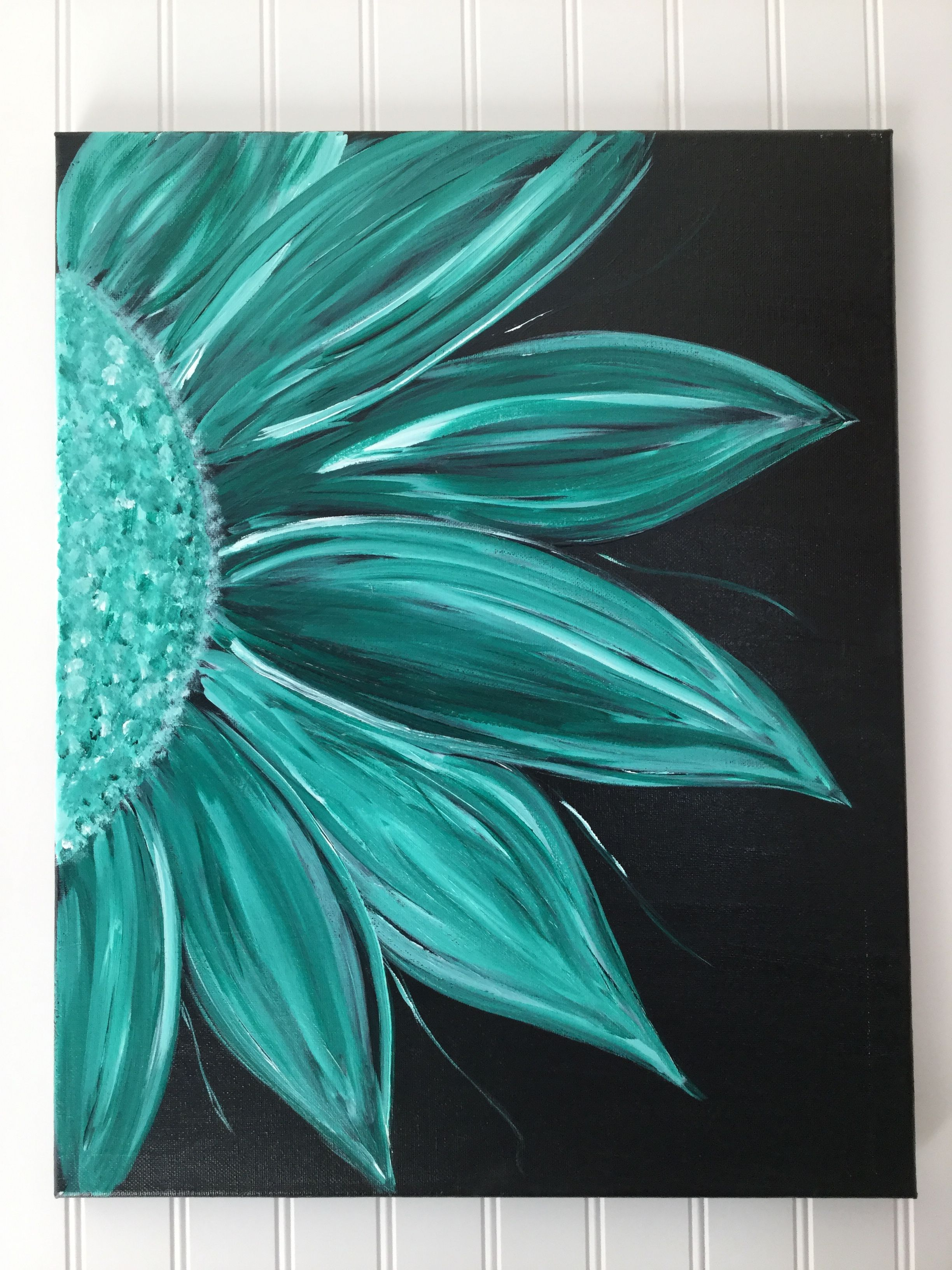 Acrylic Flower painting on black background By MJL Canvas 2448x3264