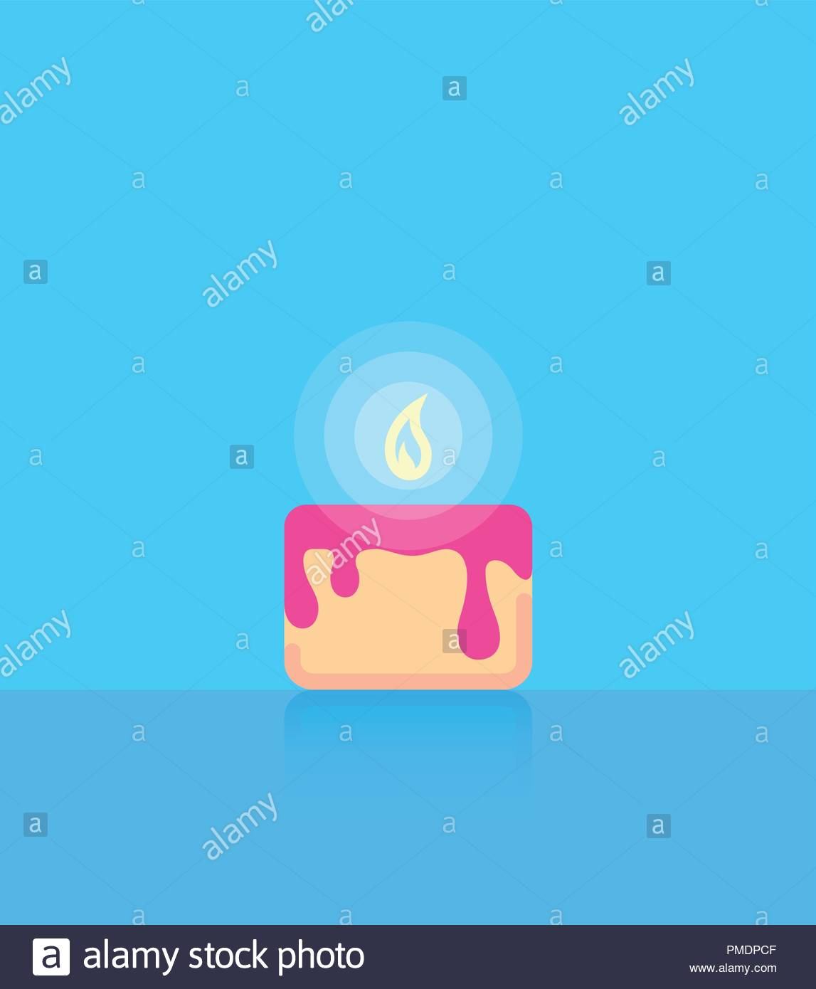 Birthday Cake on Blue background in Flat Style with Copy Space 1147x1390