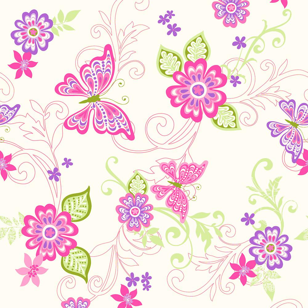 Chesapeake Paisley Pink Butterfly Flower Scroll Wallpaper Sample 1000x1000