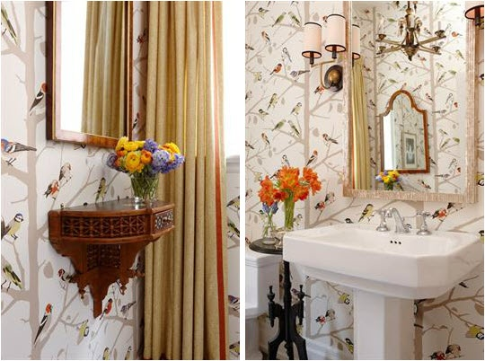 wallpaper via Sarah RichardsonBathroom Loveliness Sarah Richardson 540x402