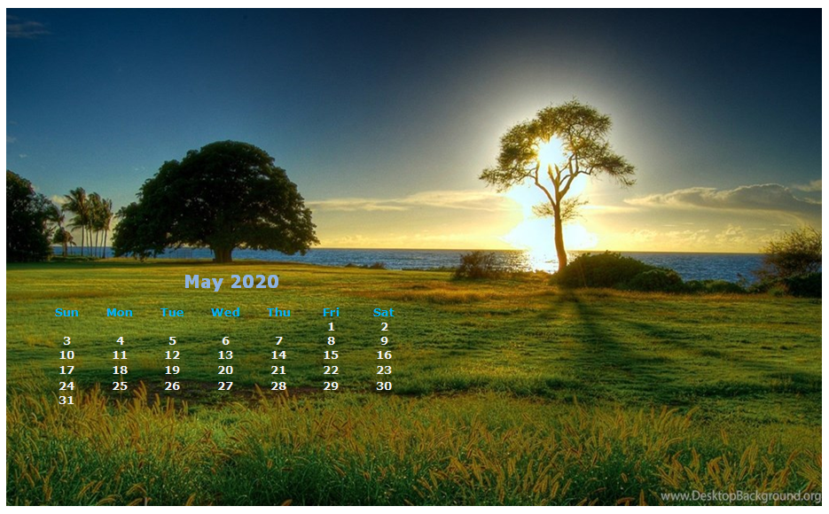 Monthly 2020 Desktop Calendar Wallpaper 935x580