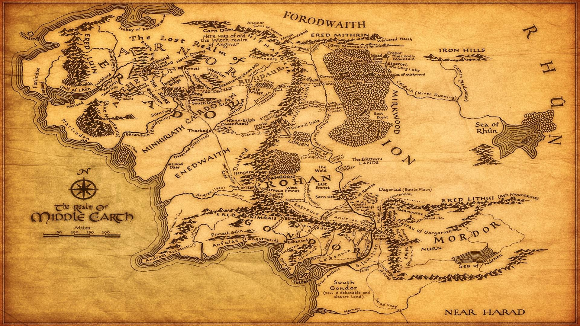 Middle Earth Map Wallpapers 1920x1080