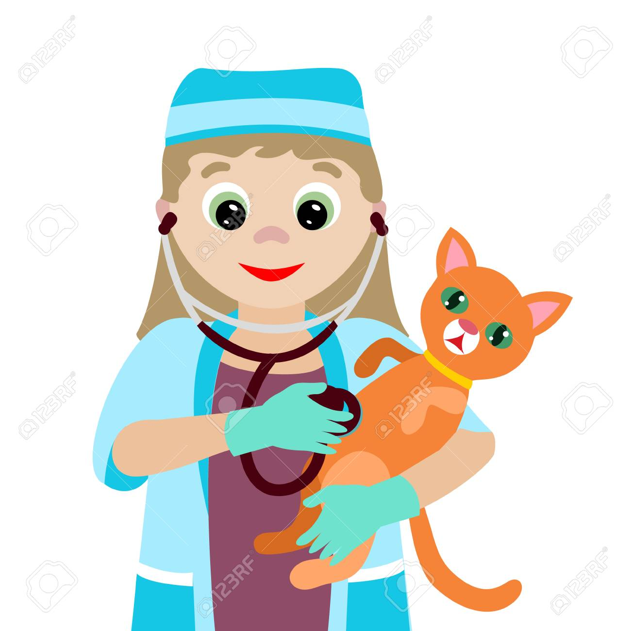 Vector Illustration Profession Cartoon Vet With A Sick Kitten 1300x1300