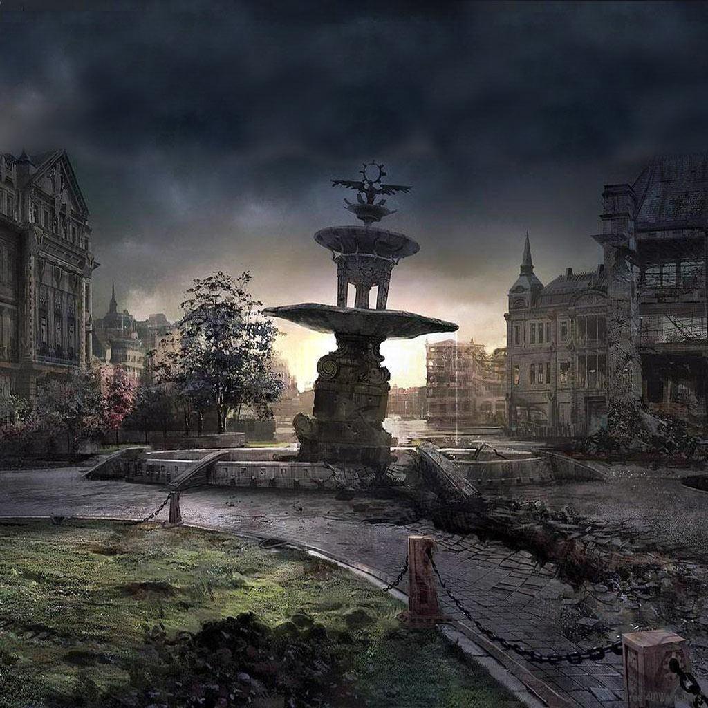Dark city ipad wallpaper to download 1024x1024