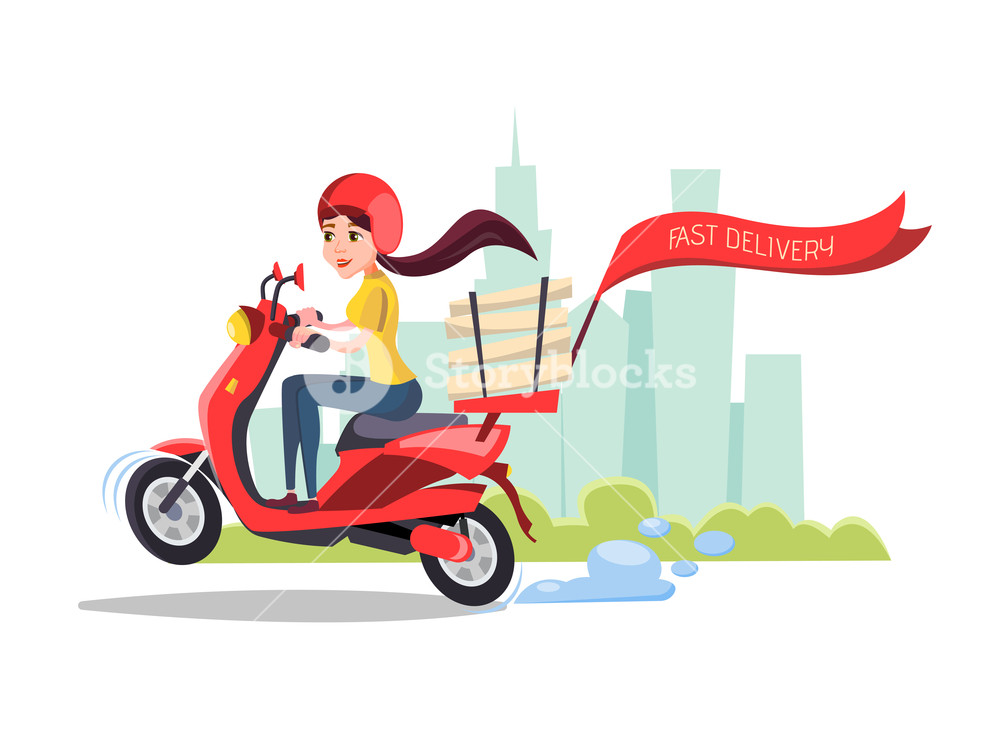 cartoon girl riding scooter Delivery food pizza service poster 1000x750