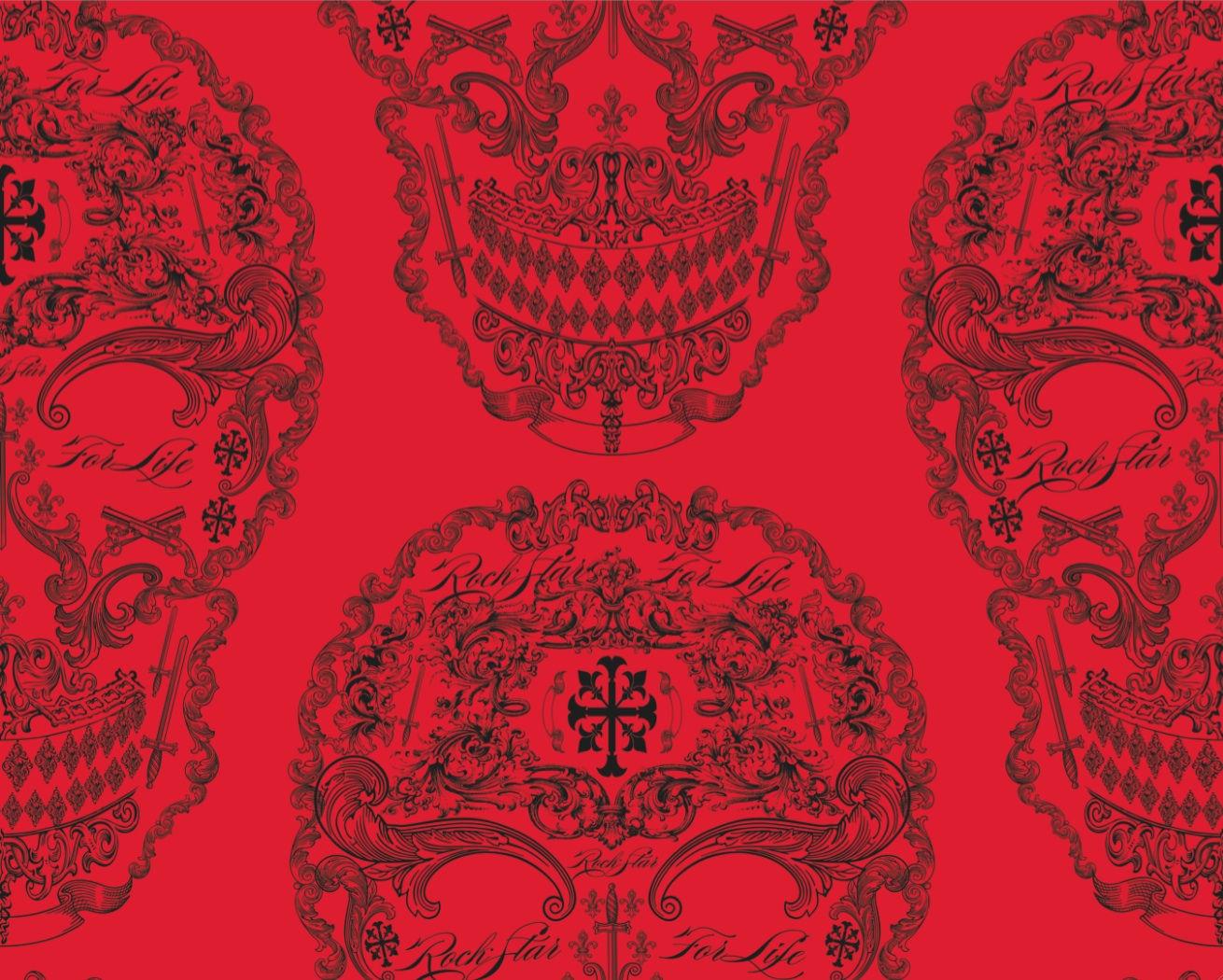 Rock and Roll Skulls Fantastic Stars   Red [DIG 20011] Designer 1310x1050