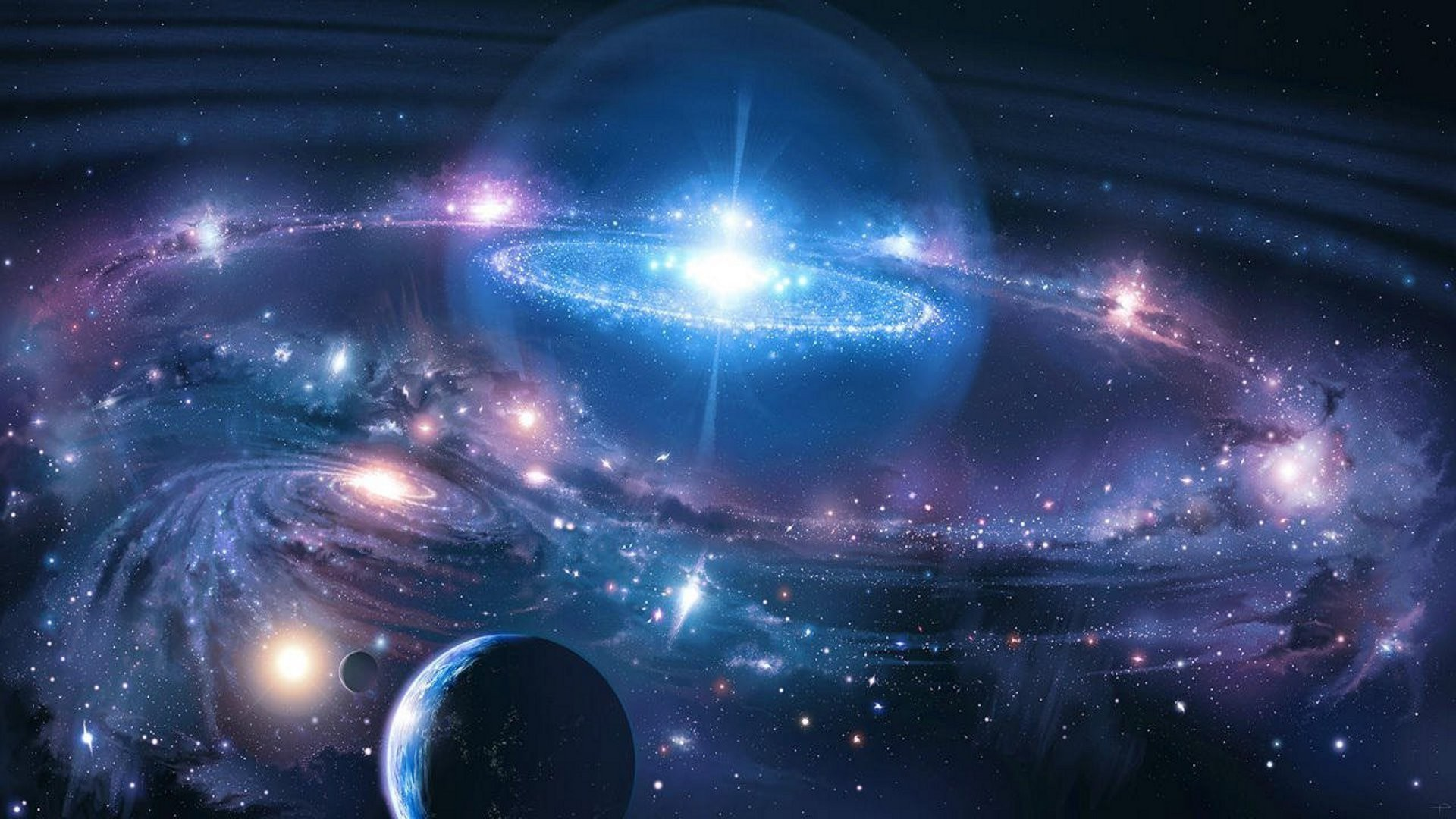 Sparkling blue universe wallpaper 5222 1920x1080