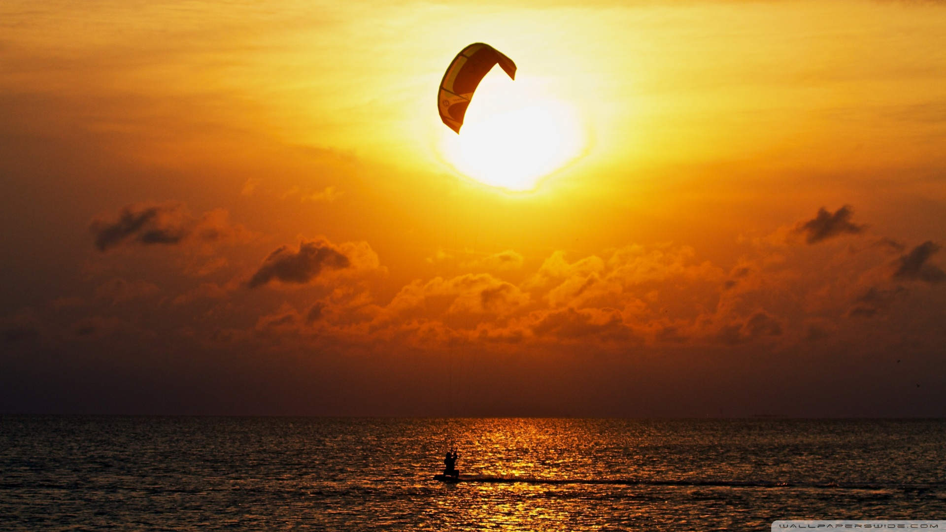 Kitesurfing At Sunset Wallpaper 1920x1080 Kitesurfing At Sunset 1920x1080