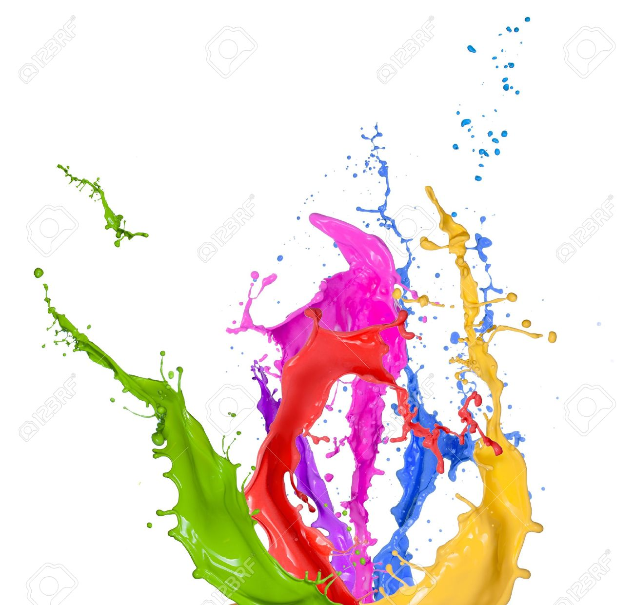 Colored Splashes In Abstract Shape Isolated On White Background 1300x1241
