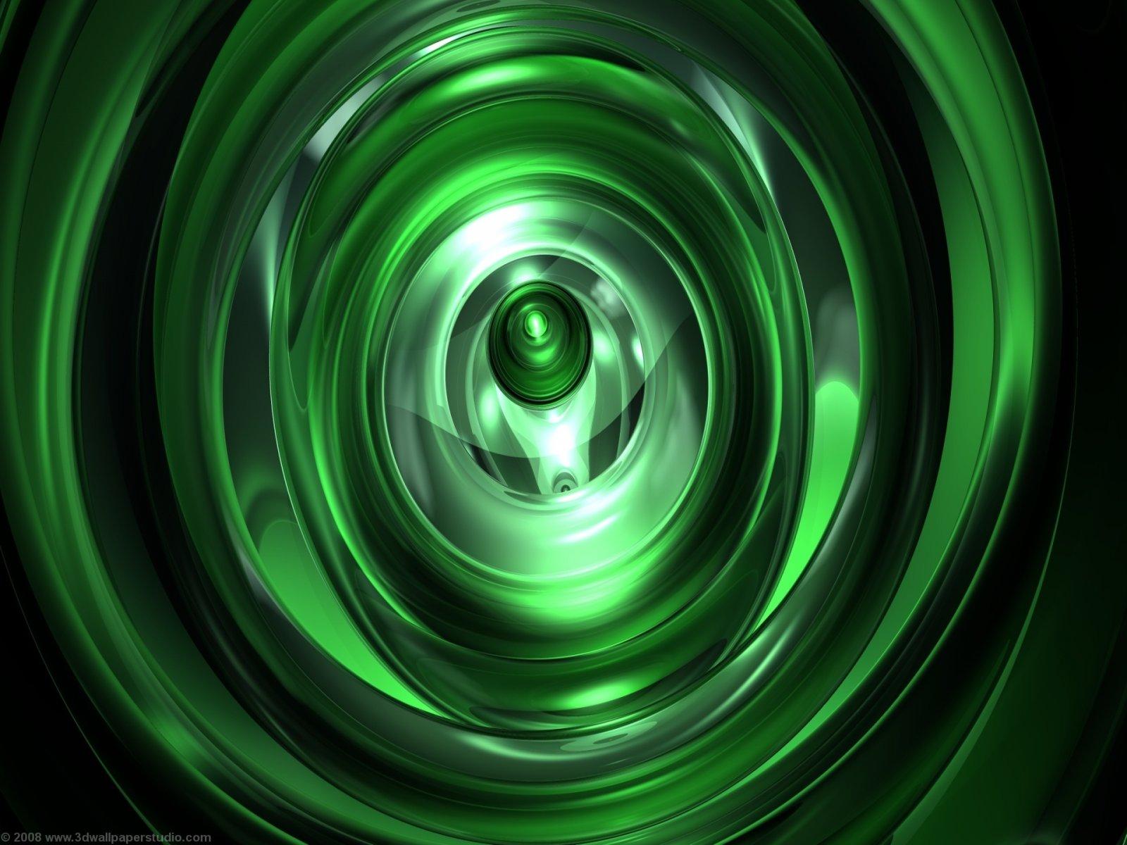 3D Wallpaper Green vortex 1600 x 1200 1600x1200