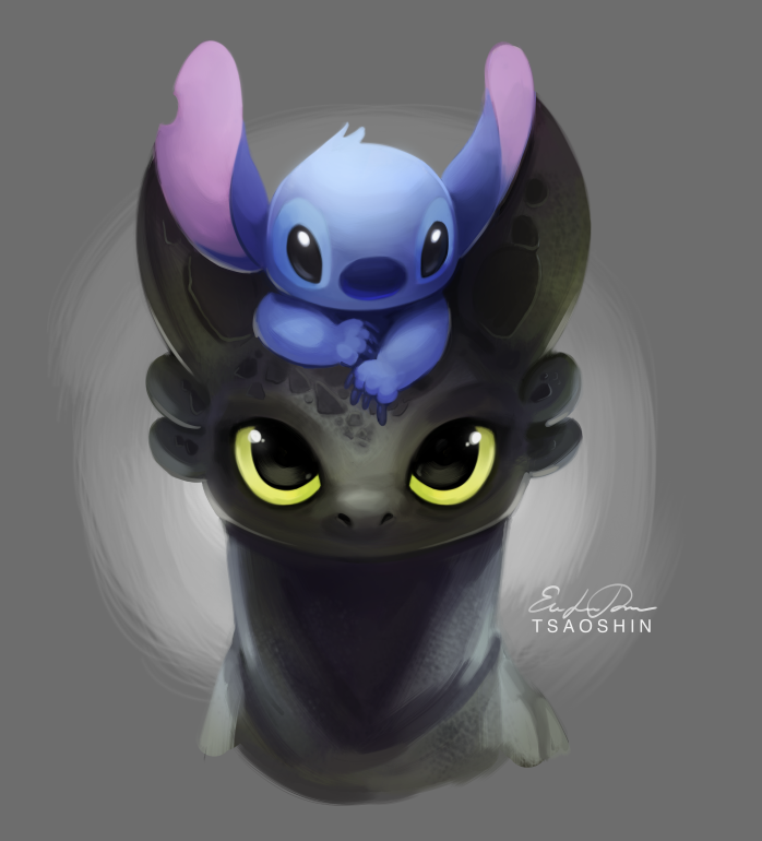 Thank you for 4K Toothless and Stitch by TsaoShin 698x770