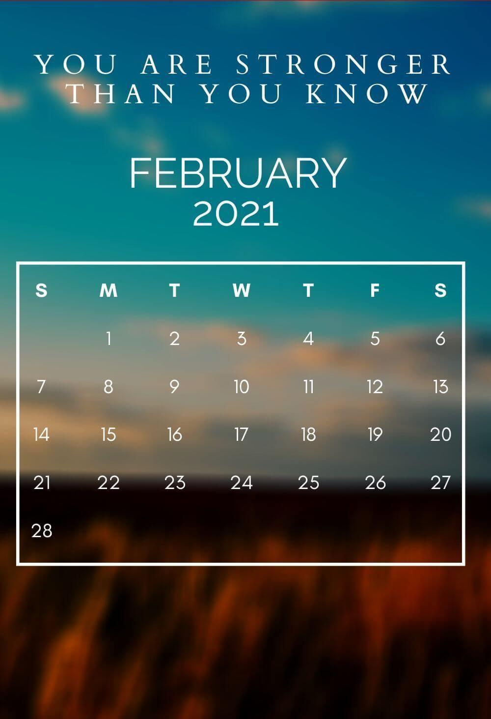 February 2021 Desktop Calendar Wallpaper