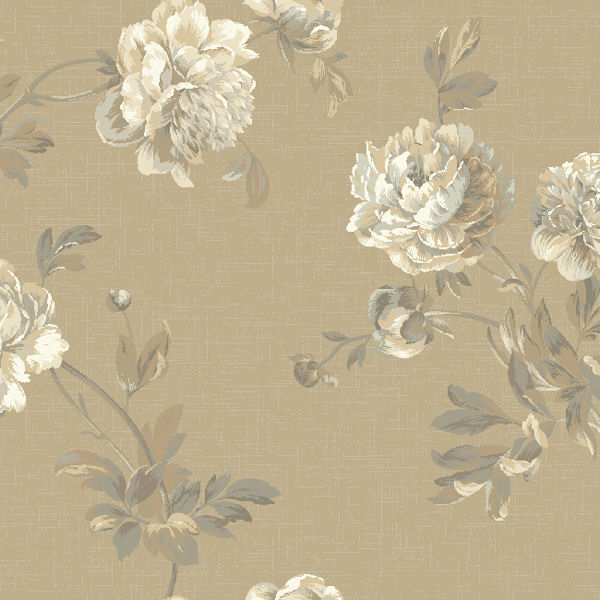 Grey and Beige Whitworth Peony Wallpaper   Wall Sticker Outlet 600x600