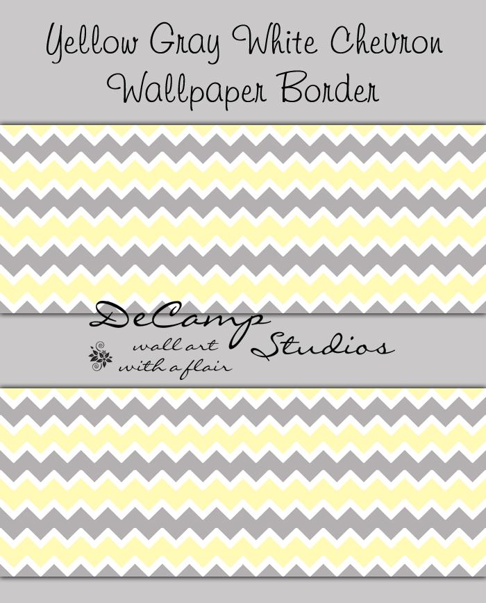 Yellow Grey Chevron Wallpaper Border Decal Baby Boy Girl Nursery [372 700x868