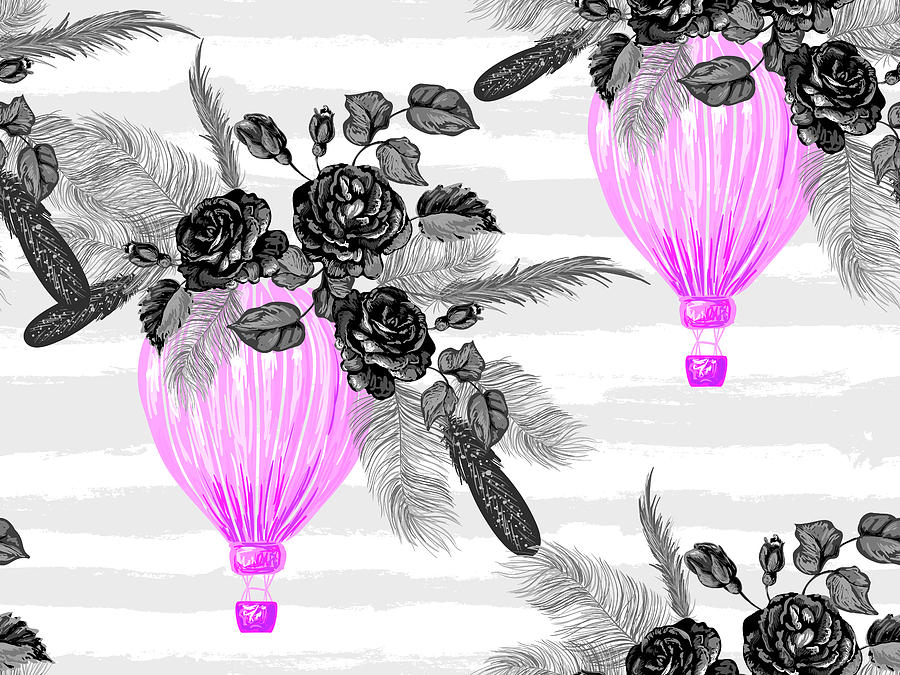Seamless Pattern With Hot Air Balloons Rose Flowers Feathers 900x675