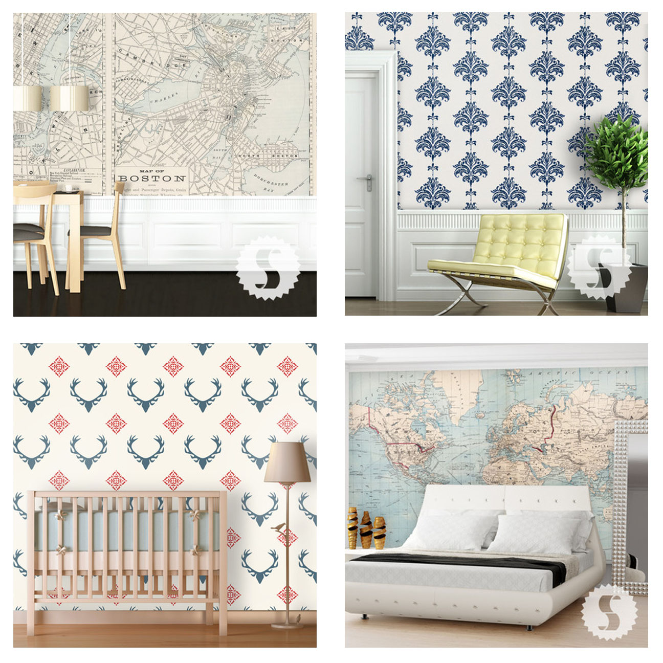 Swag Paper Removable Wallpaper Boston   Retro top left Ikat   Navy 1296x1296
