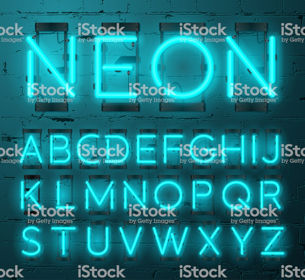 Neon Light Alphabet Vector Font Type Letters Neon Tube Letters On 1024x939