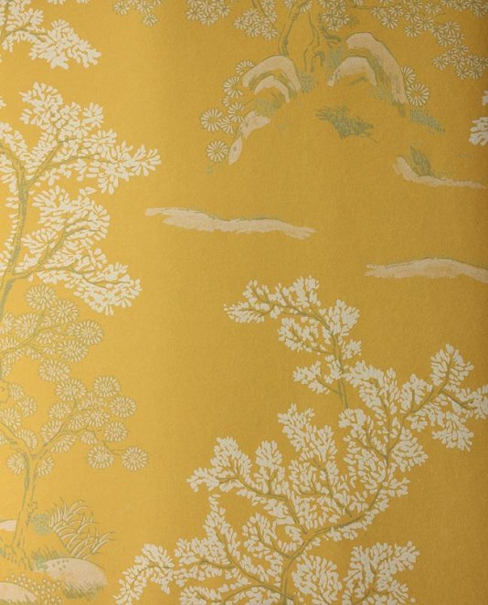 Wallpaper Yellow wallpaper with white and green chinese tree design 534x662