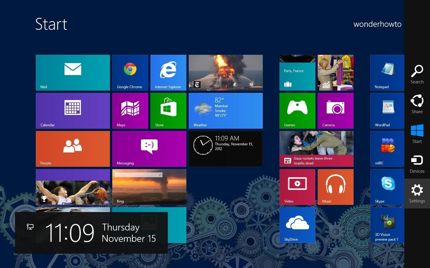 Missing Time in Windows 8 Add a Live Tile Clock to Your 1440x900