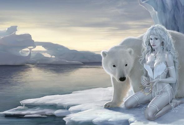 Wallpaper bear fantasy girl ice winter pet white fantasy 590x400