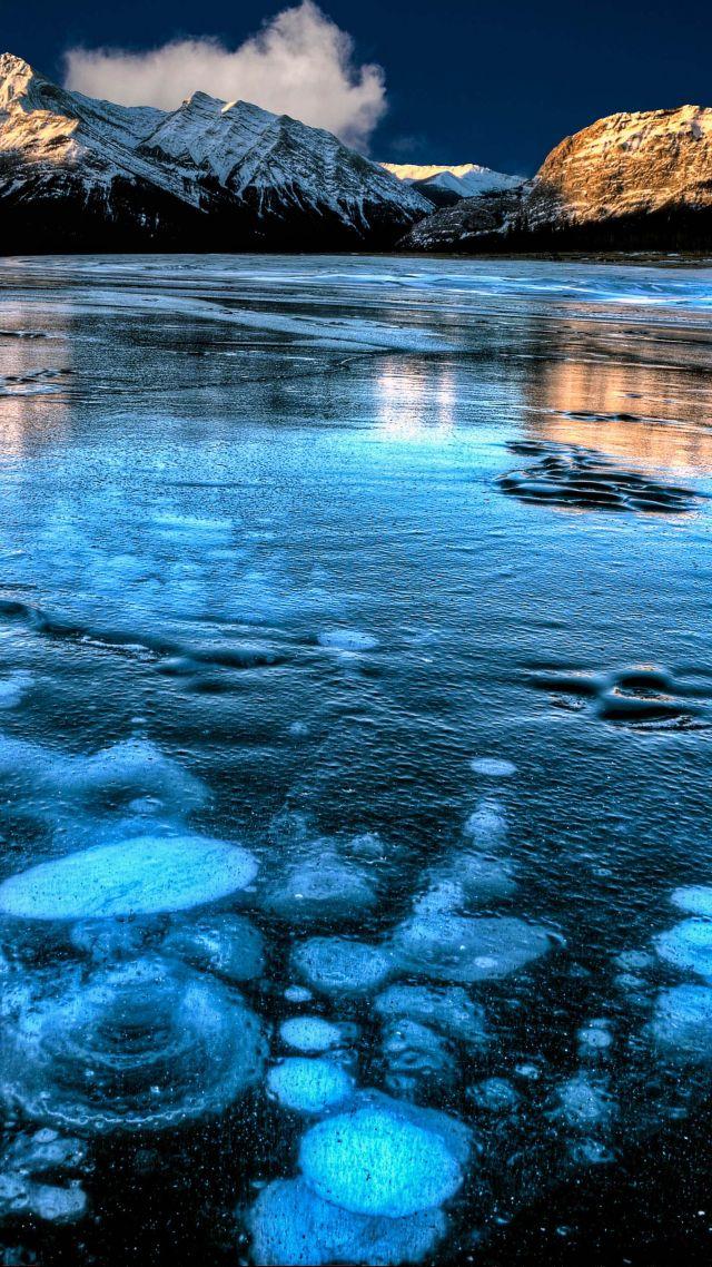 Wallpaper Abraham Lake Canada mountain ice 4k Nature 15451 640x1138