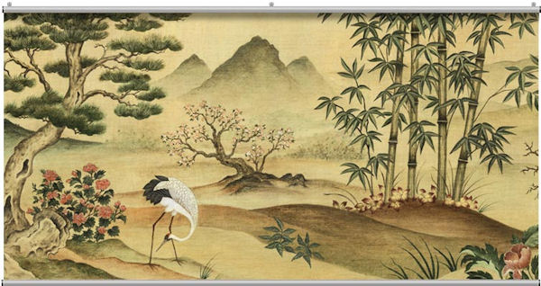Oriental Landscape Minute Mural   Wall Sticker Outlet 600x318