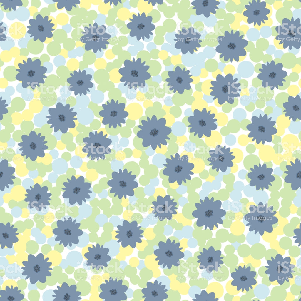 Flowers On Motley Background Of Circles Colorful Seamless Pattern 1024x1024