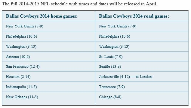 2014 2015 2014 2015 dallas cowboys schedule 2014 2015 2014 2015 dallas 635x362