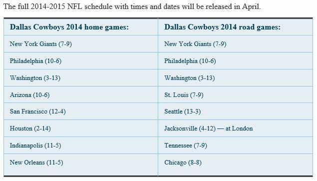 2014 2015 2014 2015 dallas cowboys schedule 2014 2015 2014 2015 dallas 635x362