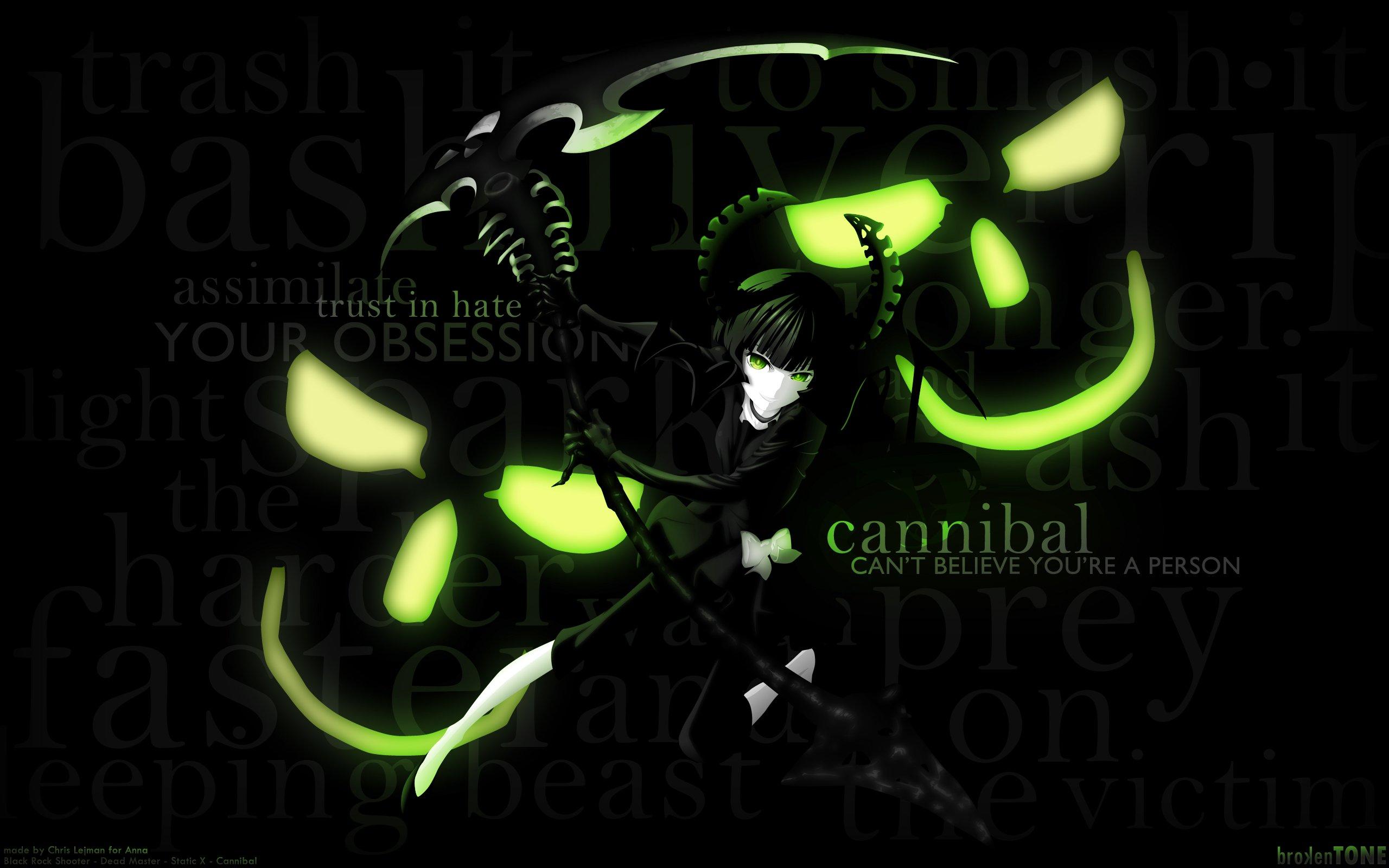 Green skulls black dark Black Rock Shooter Dead Master 2560x1600