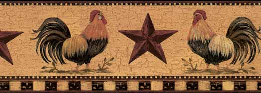 Roosters With Barn Stars Wall Paper Border   Wallpaper Border 525x187